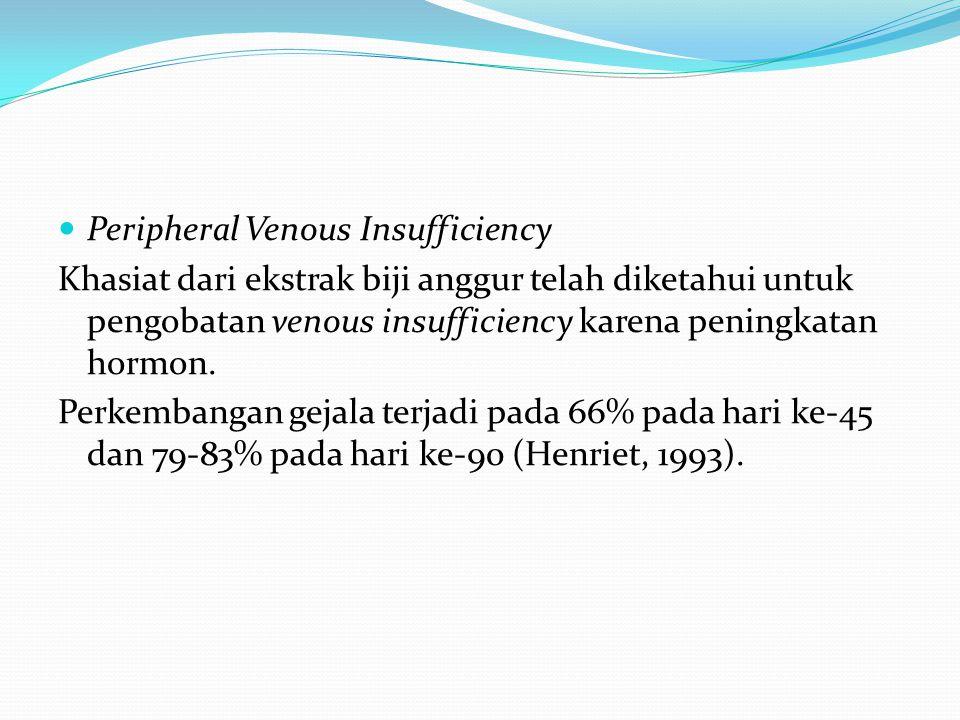 Peripheral Venous Insufficiency Khasiat dari ekstrak biji anggur telah diketahui untuk pengobatan venous insufficiency karena peningkatan hormon. Perk