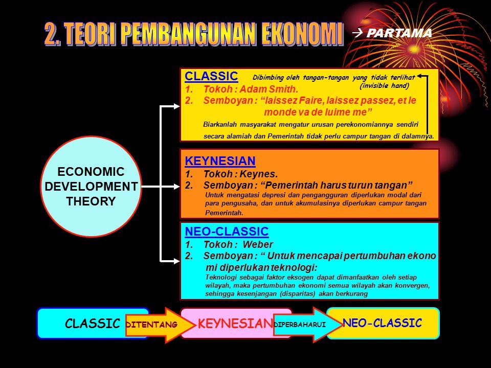 "ECONOMIC DEVELOPMENT THEORY CLASSIC 1.Tokoh : Adam Smith. 2.Semboyan : ""laissez Faire, laissez passez, et le monde va de luime me"" Biarkanlah masyarak"