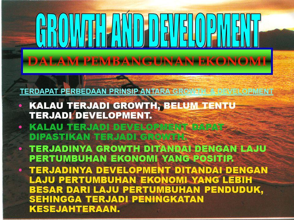 KALAU TERJADI GROWTH, BELUM TENTU TERJADI DEVELOPMENT. KALAU TERJADI DEVELOPMENT DAPAT DIPASTIKAN TERJADI GROWTH. TERJADINYA GROWTH DITANDAI DENGAN LA