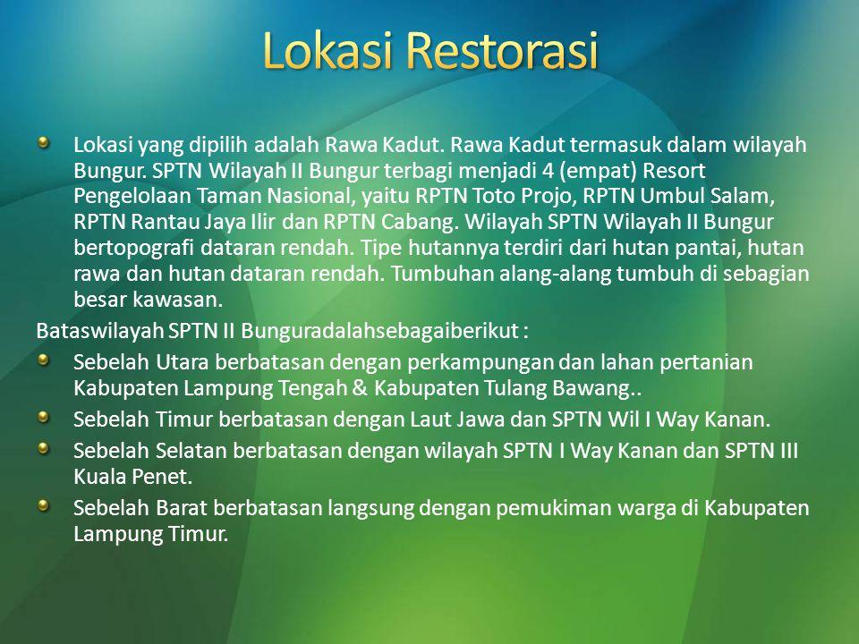 Lokasi yang dipilih adalah Rawa Kadut. Rawa Kadut termasuk dalam wilayah Bungur. SPTN Wilayah II Bungur terbagi menjadi 4 (empat) Resort Pengelolaan T