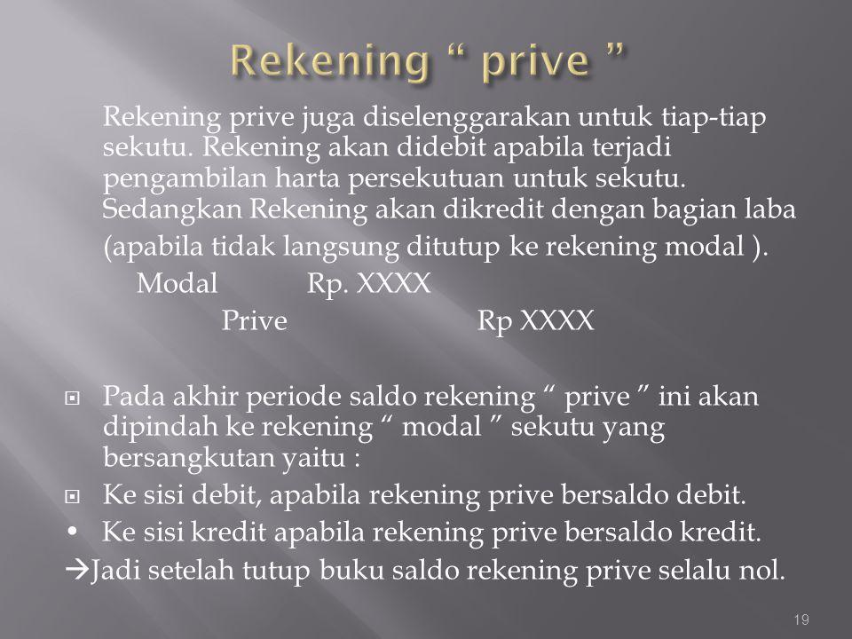 Rekening prive juga diselenggarakan untuk tiap-tiap sekutu. Rekening akan didebit apabila terjadi pengambilan harta persekutuan untuk sekutu. Sedangka