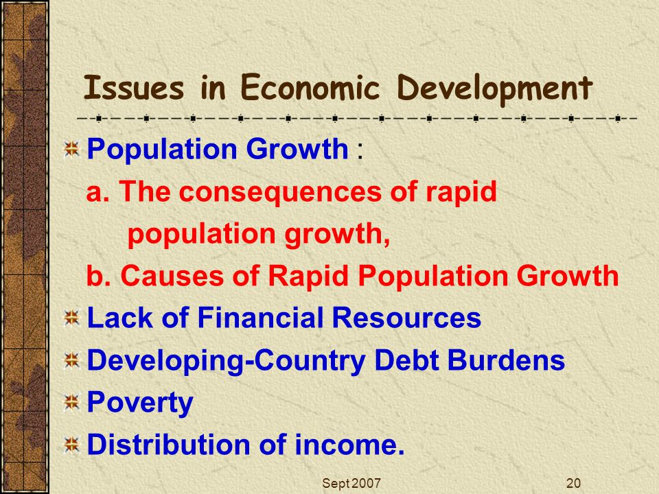 Sept 200720 Issues in Economic Development Population Growth : a. The consequences of rapid population growth, b. Causes of Rapid Population Growth La