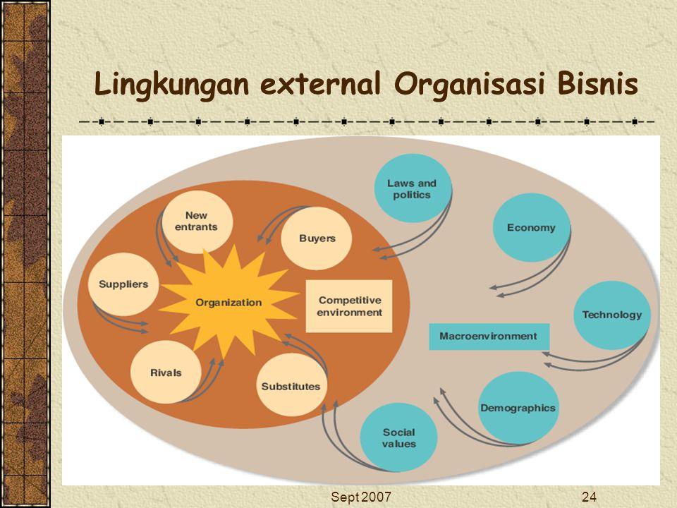 Sept 200724 Lingkungan external Organisasi Bisnis Return
