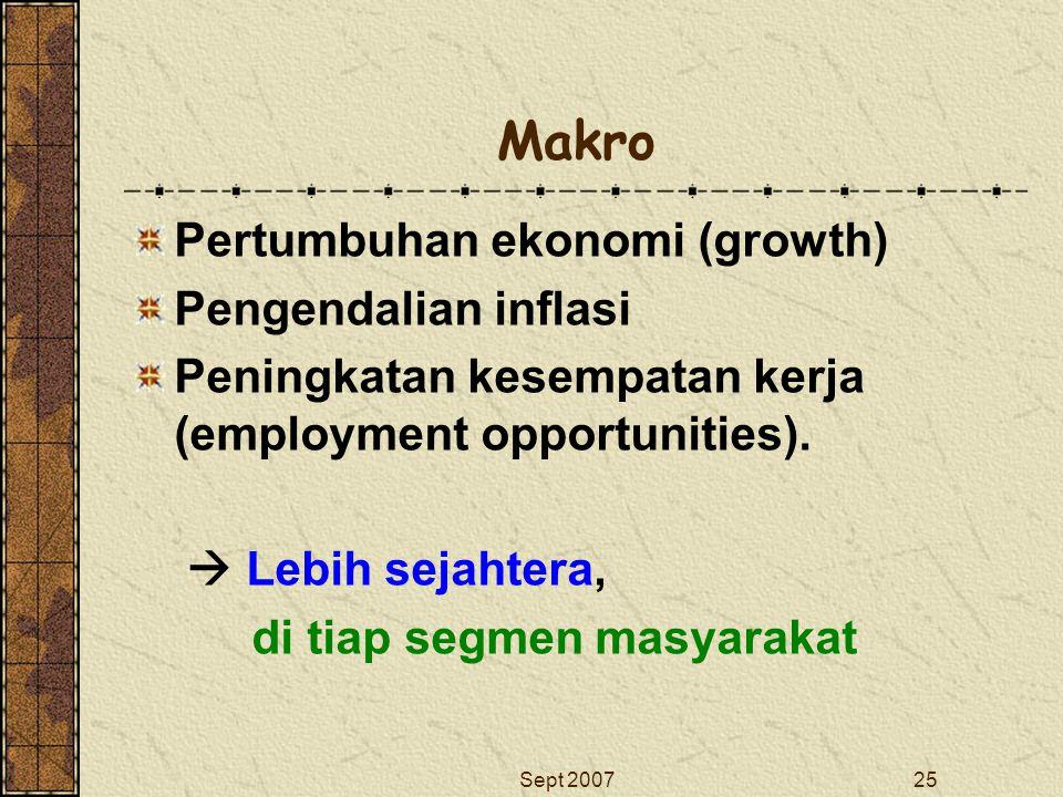 Sept 200725 Makro Pertumbuhan ekonomi (growth) Pengendalian inflasi Peningkatan kesempatan kerja (employment opportunities).  Lebih sejahtera, di tia