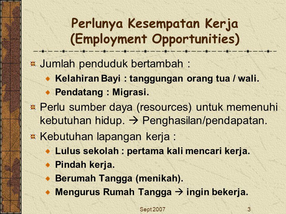 Sept 20073 Perlunya Kesempatan Kerja (Employment Opportunities) Jumlah penduduk bertambah : Kelahiran Bayi : tanggungan orang tua / wali. Pendatang :