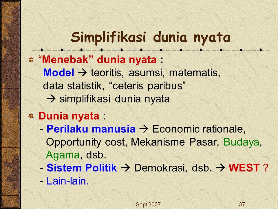 """Sept 200737 Simplifikasi dunia nyata """"Menebak"""" dunia nyata : Model  teoritis, asumsi, matematis, data statistik, """"ceteris paribus""""  simplifikasi dun"""