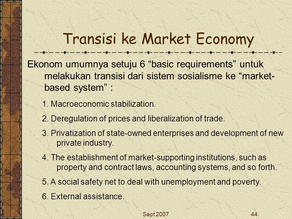 """Sept 200744 Transisi ke Market Economy Ekonom umumnya setuju 6 """"basic requirements"""" untuk melakukan transisi dari sistem sosialisme ke """"market- based"""