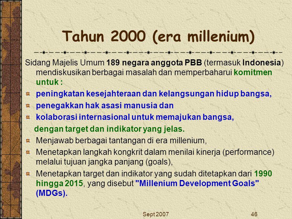 Sept 200746 Tahun 2000 (era millenium) Sidang Majelis Umum 189 negara anggota PBB (termasuk Indonesia) mendiskusikan berbagai masalah dan memperbaharu