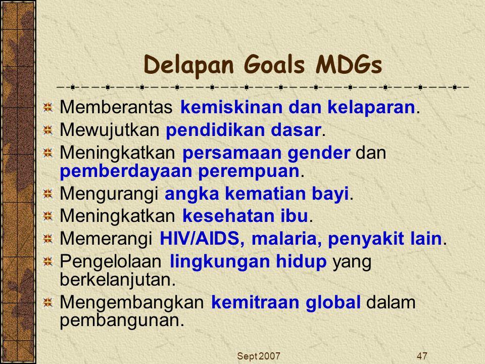 Sept 200747 Delapan Goals MDGs Memberantas kemiskinan dan kelaparan. Mewujutkan pendidikan dasar. Meningkatkan persamaan gender dan pemberdayaan perem