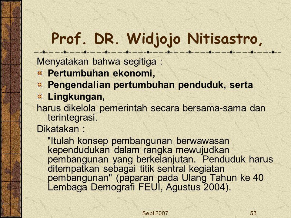 Sept 200753 Prof. DR. Widjojo Nitisastro, Menyatakan bahwa segitiga : Pertumbuhan ekonomi, Pengendalian pertumbuhan penduduk, serta Lingkungan, harus
