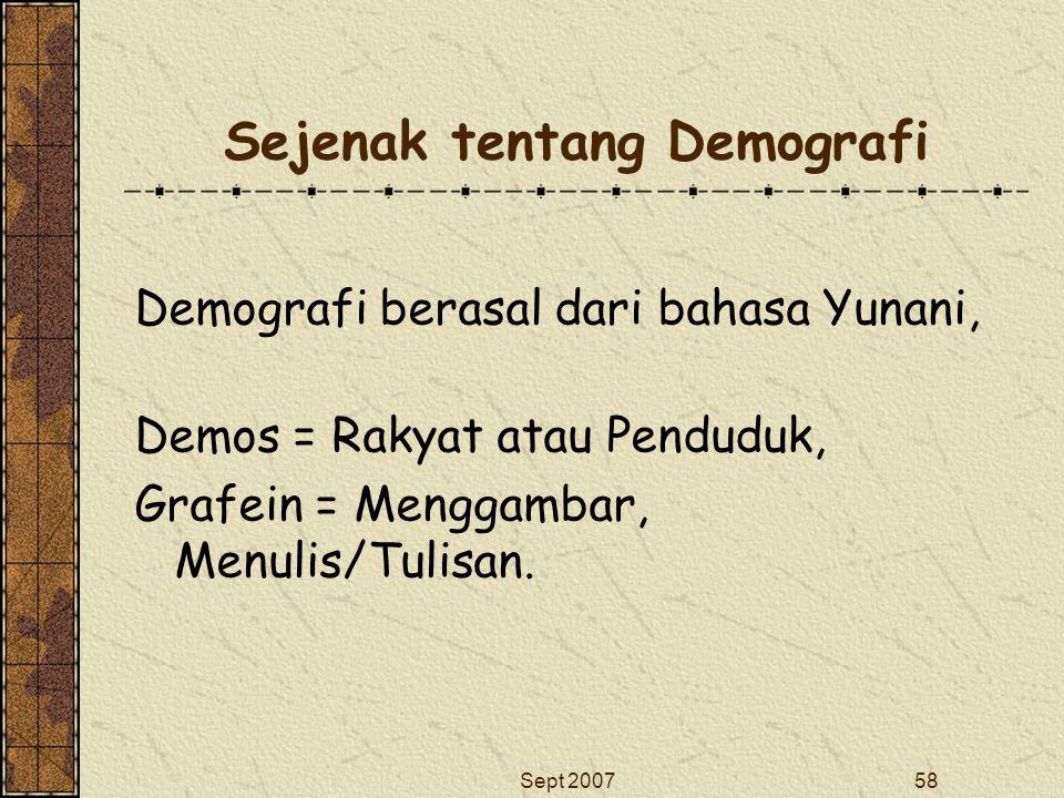 Sept 200758 Sejenak tentang Demografi Demografi berasal dari bahasa Yunani, Demos = Rakyat atau Penduduk, Grafein = Menggambar, Menulis/Tulisan.