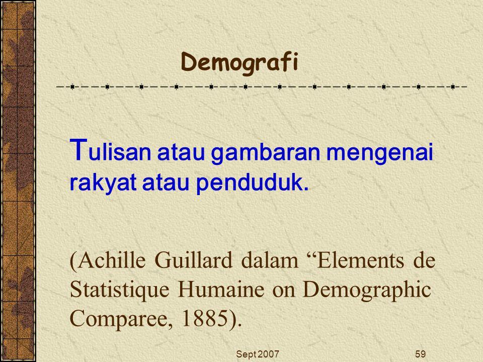 "Sept 200759 T ulisan atau gambaran mengenai rakyat atau penduduk. (Achille Guillard dalam ""Elements de Statistique Humaine on Demographic Comparee, 18"