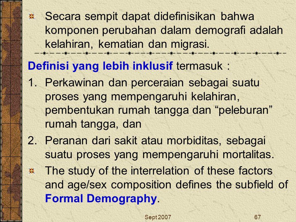 Sept 200767 Secara sempit dapat didefinisikan bahwa komponen perubahan dalam demografi adalah kelahiran, kematian dan migrasi. Definisi yang lebih ink