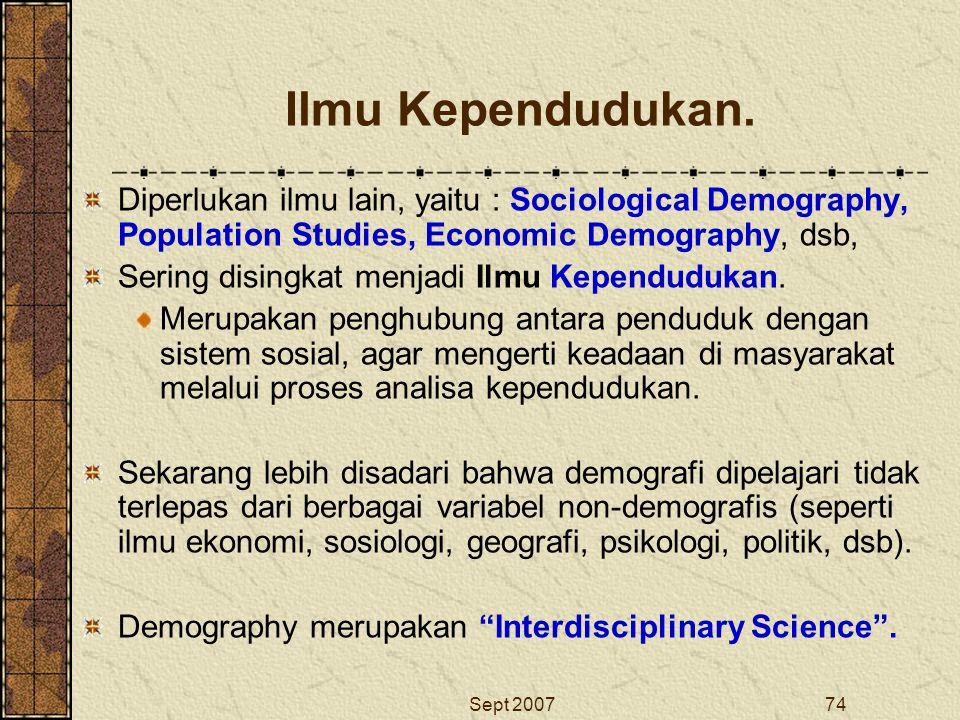 Sept 200774 Ilmu Kependudukan. Diperlukan ilmu lain, yaitu : Sociological Demography, Population Studies, Economic Demography, dsb, Sering disingkat m