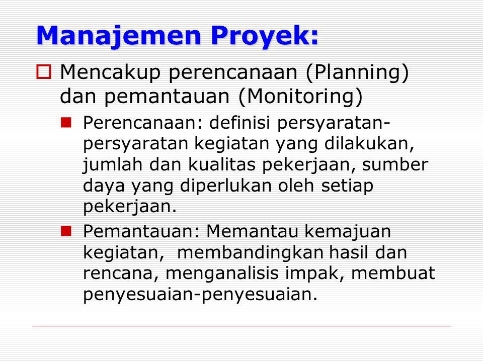 Manajemen Proyek:  Mencakup perencanaan (Planning) dan pemantauan (Monitoring) Perencanaan: definisi persyaratan- persyaratan kegiatan yang dilakukan, jumlah dan kualitas pekerjaan, sumber daya yang diperlukan oleh setiap pekerjaan.