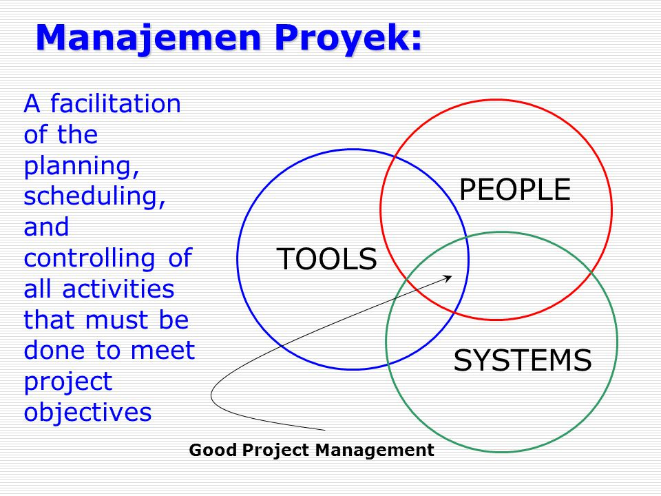 Manajemen Proyek: TOOLS PEOPLE SYSTEMS Good Project Management A facilitation of the planning, scheduling, and controlling of all activities that must be done to meet project objectives