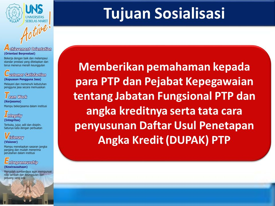 Tujuan Sosialisasi Memberikan pemahaman kepada para PTP dan Pejabat Kepegawaian tentang Jabatan Fungsional PTP dan angka kreditnya serta tata cara pen