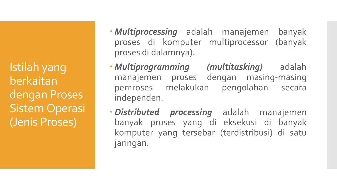 Istilah yang berkaitan dengan Proses Sistem Operasi (Jenis Proses)  Multiprocessing adalah manajemen banyak proses di komputer multiprocessor (banyak proses di dalamnya).