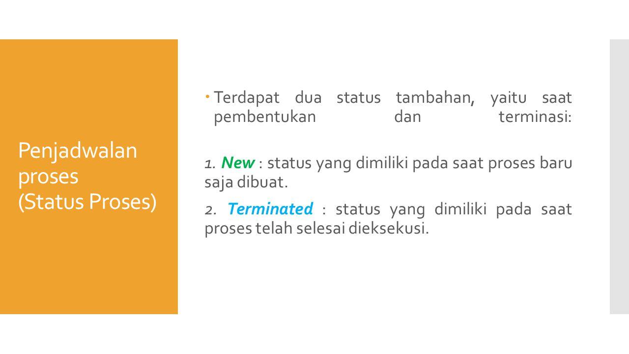 Penjadwalan proses (Status Proses)  Terdapat dua status tambahan, yaitu saat pembentukan dan terminasi: 1.