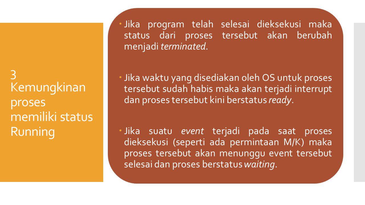 3 Kemungkinan proses memiliki status Running  Jika program telah selesai dieksekusi maka status dari proses tersebut akan berubah menjadi terminated.