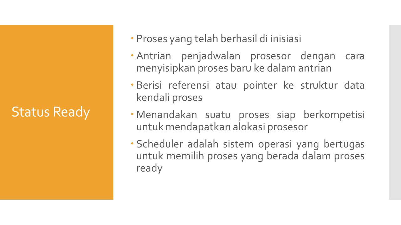 Status Ready  Proses yang telah berhasil di inisiasi  Antrian penjadwalan prosesor dengan cara menyisipkan proses baru ke dalam antrian  Berisi referensi atau pointer ke struktur data kendali proses  Menandakan suatu proses siap berkompetisi untuk mendapatkan alokasi prosesor  Scheduler adalah sistem operasi yang bertugas untuk memilih proses yang berada dalam proses ready