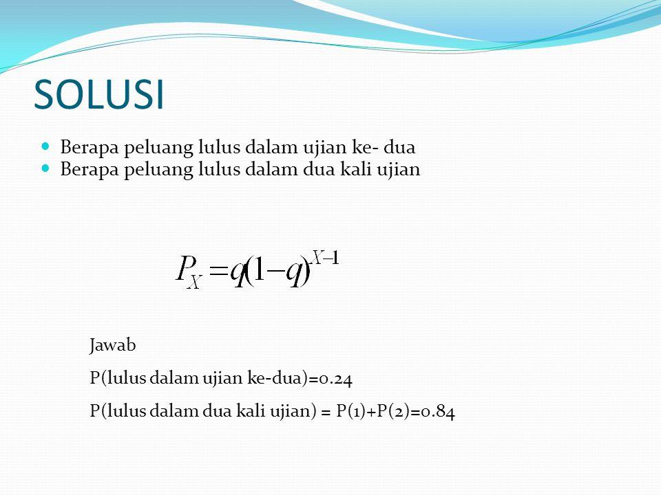 SOLUSI Berapa peluang lulus dalam ujian ke- dua Berapa peluang lulus dalam dua kali ujian Jawab P(lulus dalam ujian ke-dua)=0.24 P(lulus dalam dua kali ujian) = P(1)+P(2)=0.84