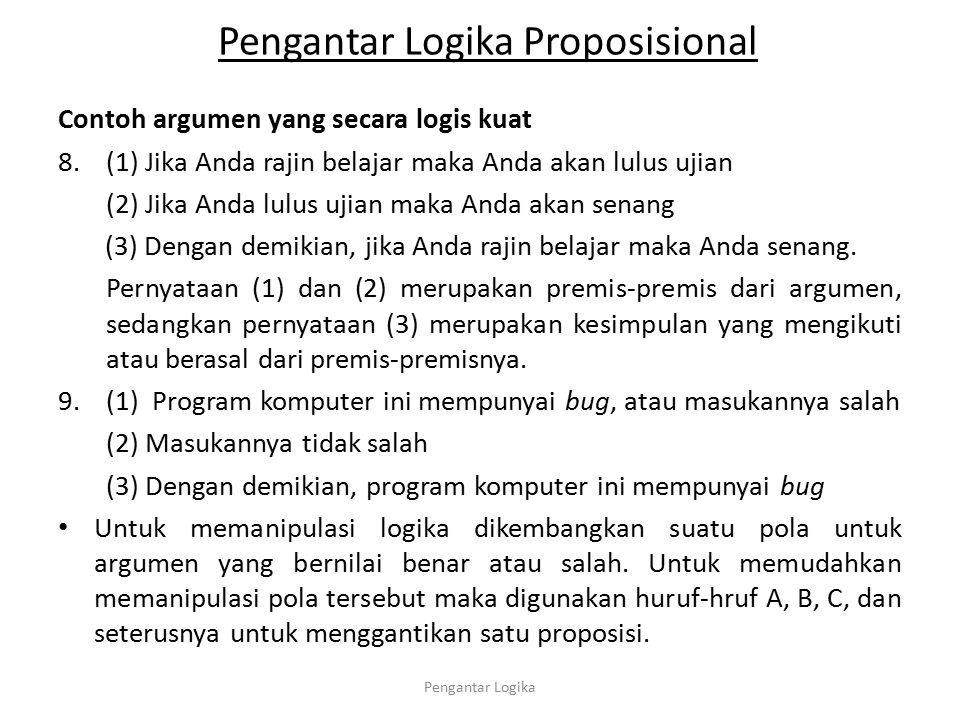 Pengantar Logika Proposisional Contoh argumen yang secara logis kuat 8.(1) Jika Anda rajin belajar maka Anda akan lulus ujian (2) Jika Anda lulus ujia