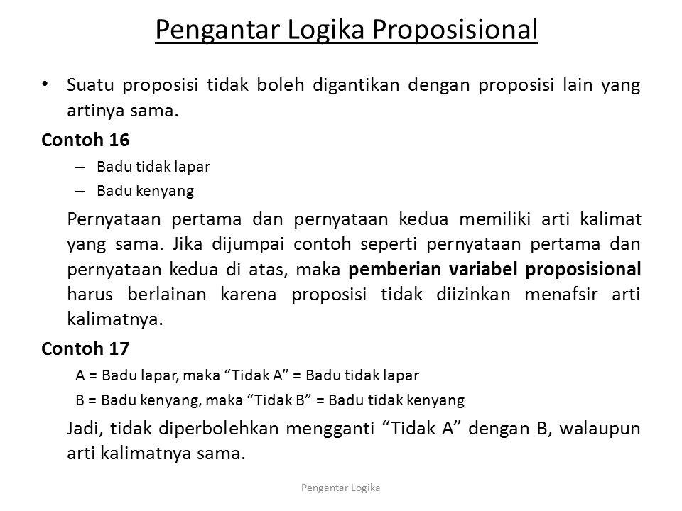 Pengantar Logika Proposisional Suatu proposisi tidak boleh digantikan dengan proposisi lain yang artinya sama. Contoh 16 – Badu tidak lapar – Badu ken