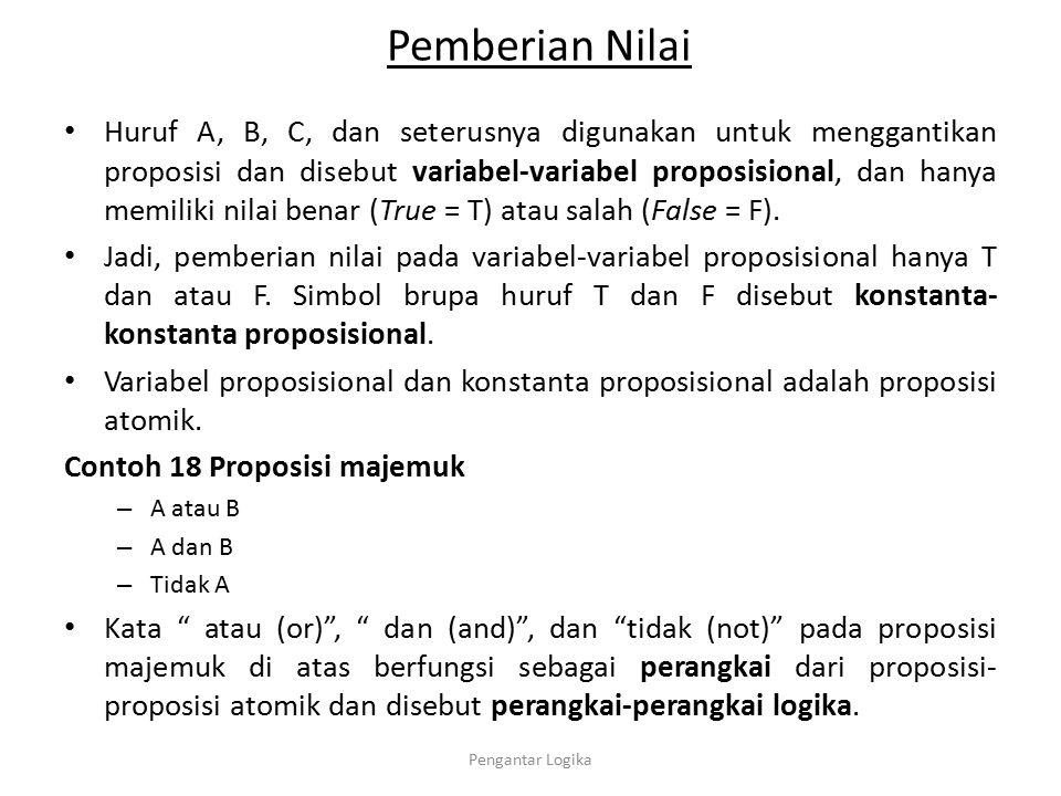 Pemberian Nilai Huruf A, B, C, dan seterusnya digunakan untuk menggantikan proposisi dan disebut variabel-variabel proposisional, dan hanya memiliki n