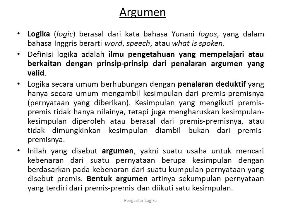 Argumen Logika (logic) berasal dari kata bahasa Yunani logos, yang dalam bahasa Inggris berarti word, speech, atau what is spoken. Definisi logika ada