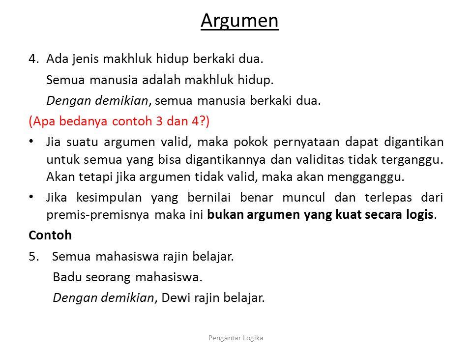 Argumen Jadi suatu argumen logis dapat disebut kuat (sound) jika dan hanya jika memenuhi dua persyaratan berikut: a.