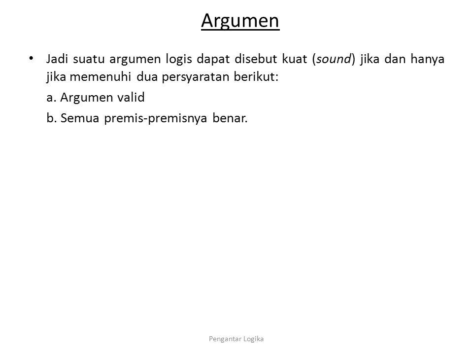 Argumen Jadi suatu argumen logis dapat disebut kuat (sound) jika dan hanya jika memenuhi dua persyaratan berikut: a. Argumen valid b. Semua premis-pre
