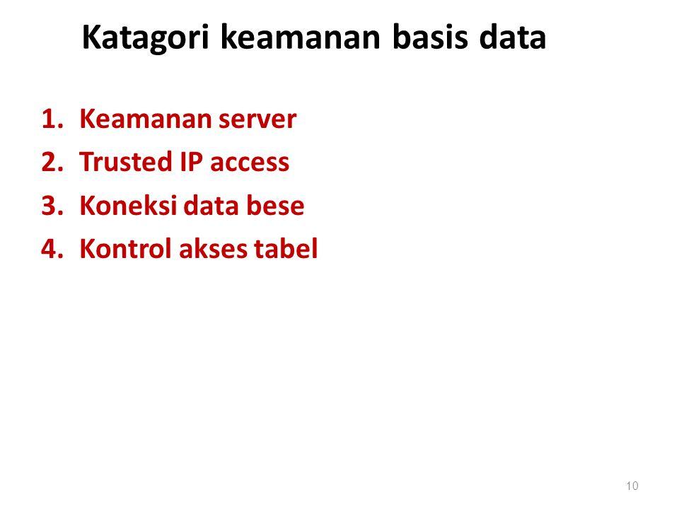Katagori keamanan basis data 1.Keamanan server 2.Trusted IP access 3.Koneksi data bese 4.Kontrol akses tabel 10