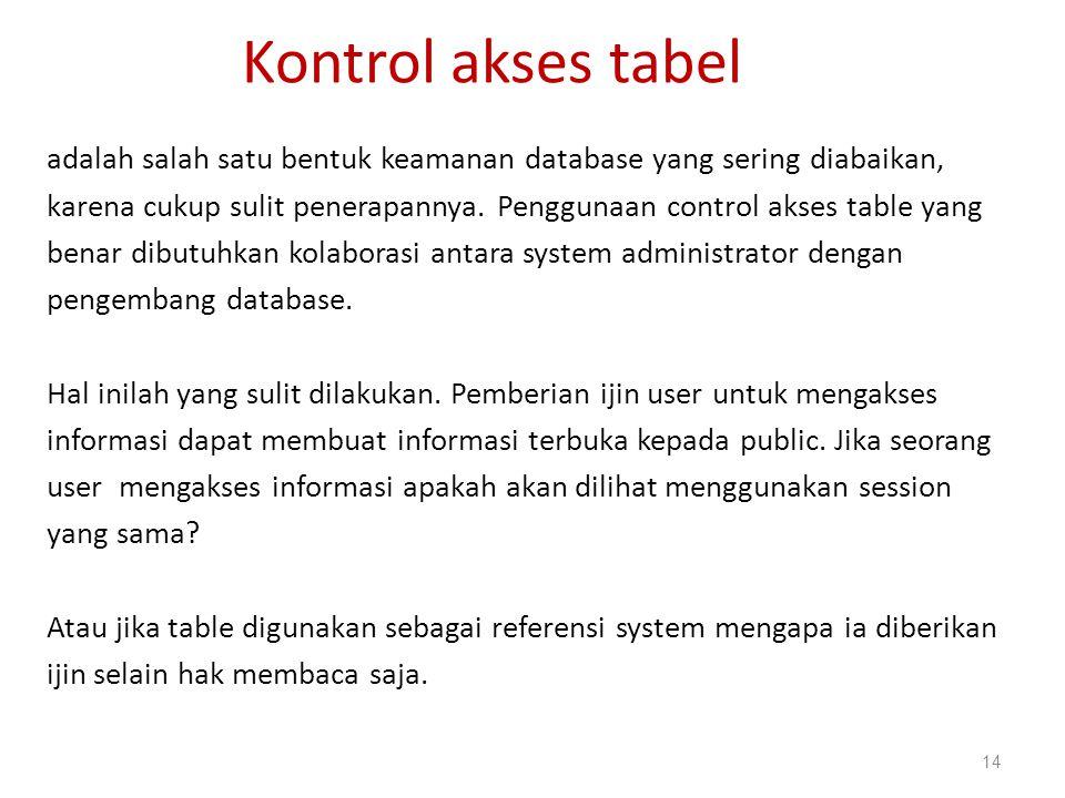 Kontrol akses tabel adalah salah satu bentuk keamanan database yang sering diabaikan, karena cukup sulit penerapannya. Penggunaan control akses table