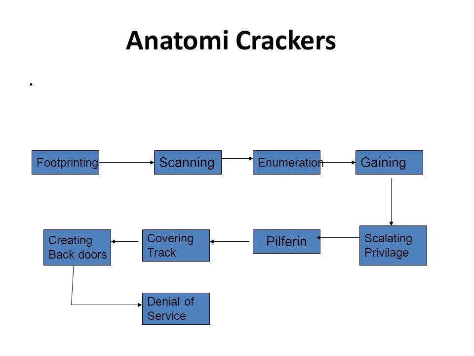 Anatomi Crackers. Footprinting Scalating Privilage Scanning Enumeration Gaining Creating Back doors Covering Track Pilferin Denial of Service
