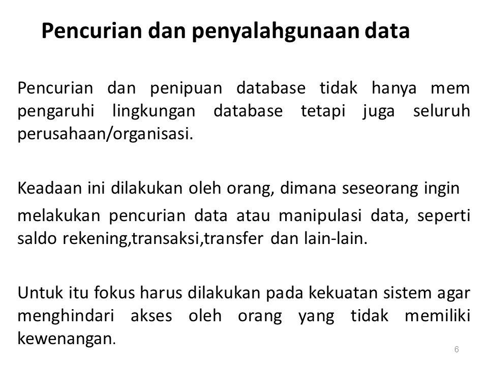 Pencurian dan penyalahgunaan data Pencurian dan penipuan database tidak hanya mem pengaruhi lingkungan database tetapi juga seluruh perusahaan/organis
