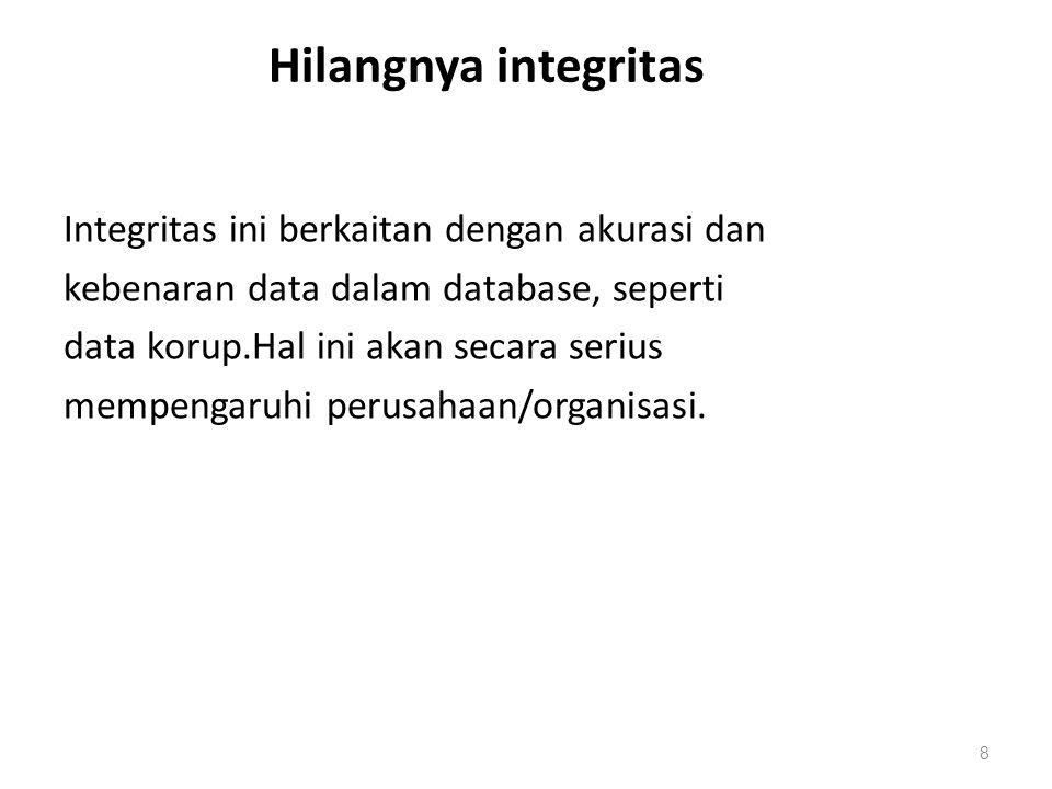Hilangnya integritas Integritas ini berkaitan dengan akurasi dan kebenaran data dalam database, seperti data korup.Hal ini akan secara serius mempenga