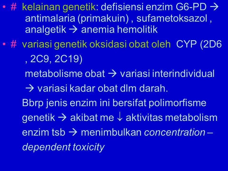 Mis : # glipizid di metabolisme CYP2C9, pemberian glipizid dg dosis terapeutik pd penderita dg genetic CYP2C9 poor metabolizer  akan terjadi hipoglikemia berlebihan # penformin  lactic acidosis, sekarang diketahui obat tsb dimetabolisme oleh CYP2D6  DM dg aktivitas 2D6 rendah  resiko lactic acidosis