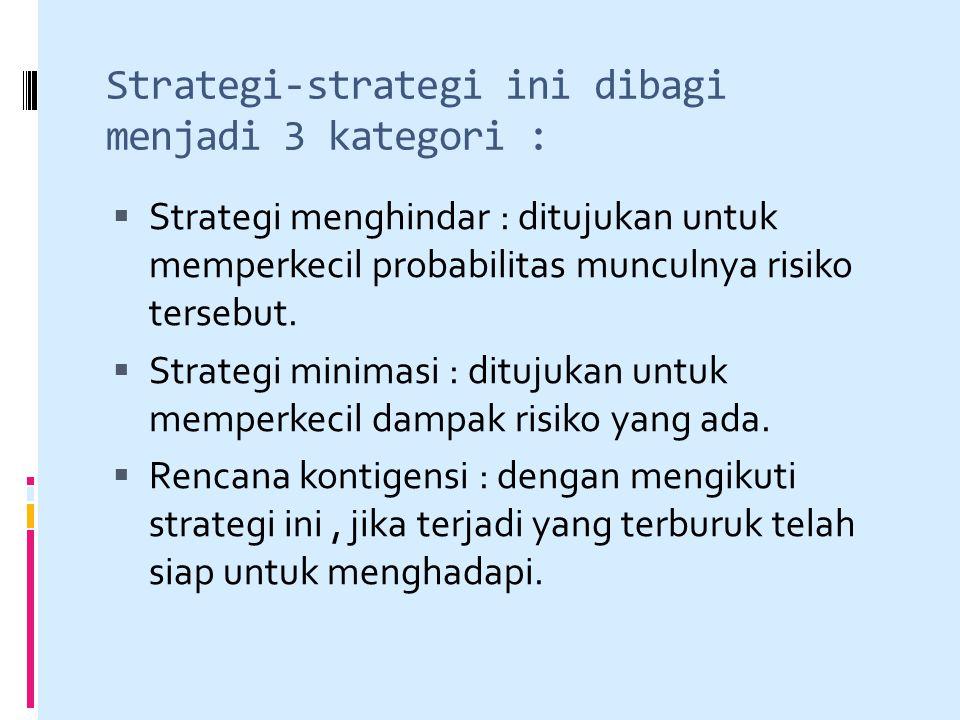 Strategi-strategi ini dibagi menjadi 3 kategori :  Strategi menghindar : ditujukan untuk memperkecil probabilitas munculnya risiko tersebut.  Strate