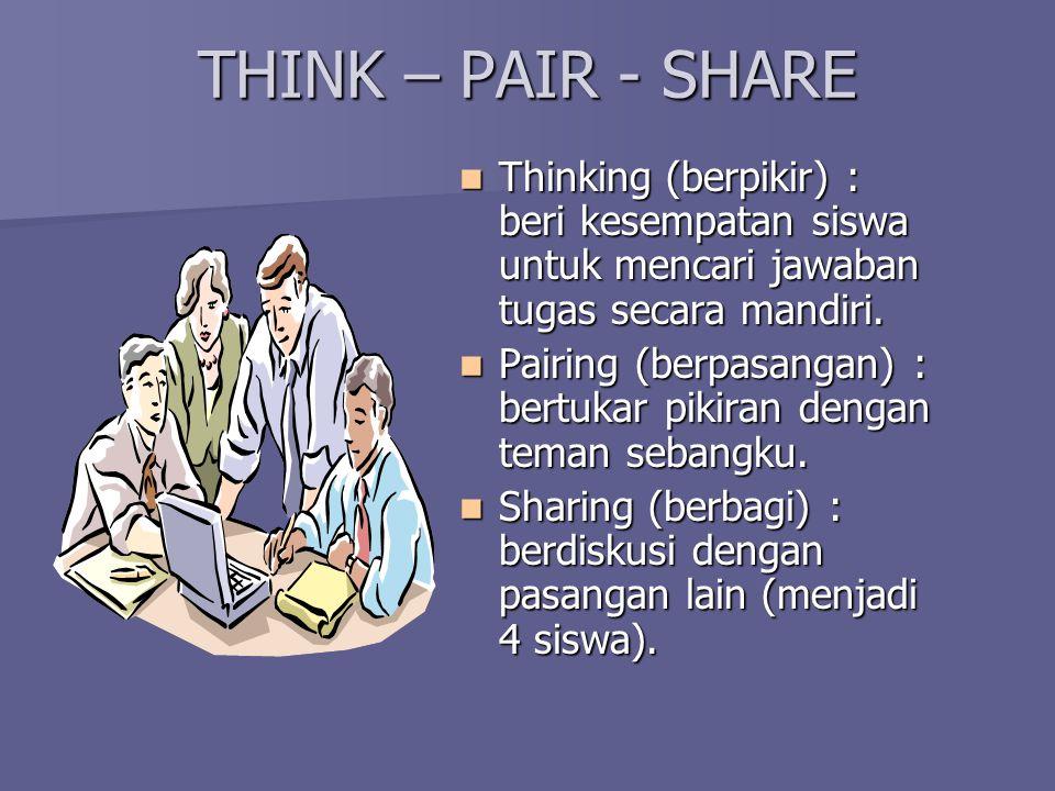 THINK – PAIR - SHARE Thinking (berpikir) : beri kesempatan siswa untuk mencari jawaban tugas secara mandiri. Thinking (berpikir) : beri kesempatan sis