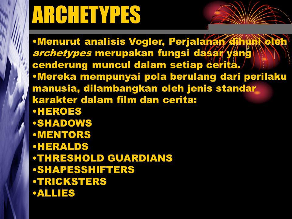 ARCHETYPES Menurut analisis Vogler, Perjalanan dihuni oleh archetypes merupakan fungsi dasar yang cenderung muncul dalam setiap cerita. Mereka mempuny