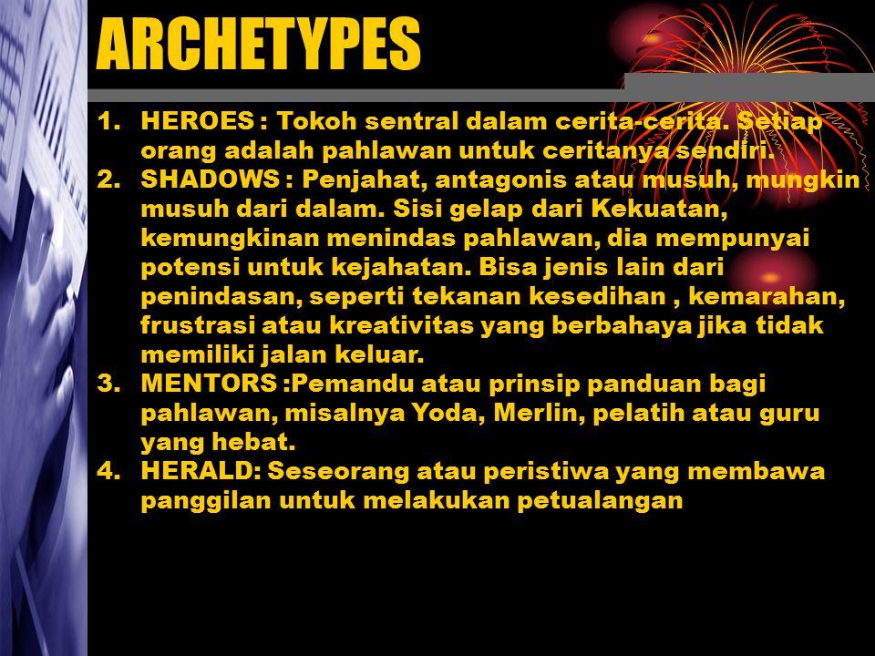1.HEROES : Tokoh sentral dalam cerita-cerita. Setiap orang adalah pahlawan untuk ceritanya sendiri. 2.SHADOWS : Penjahat, antagonis atau musuh, mungki