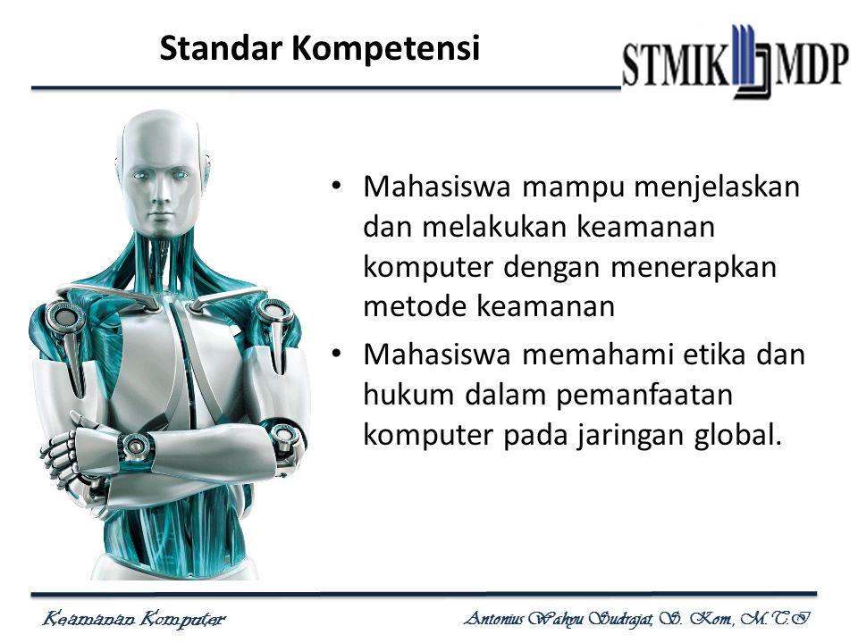 Keamanan Komputer Antonius Wahyu Sudrajat, S. Kom., M.T.I Standar Kompetensi Mahasiswa mampu menjelaskan dan melakukan keamanan komputer dengan menera