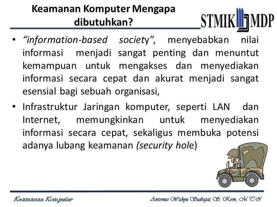 """Keamanan Komputer Antonius Wahyu Sudrajat, S. Kom., M.T.I Keamanan Komputer Mengapa dibutuhkan? """"information-based society"""", menyebabkan nilai informa"""