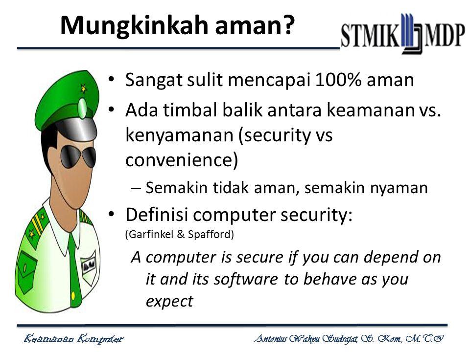 Keamanan Komputer Antonius Wahyu Sudrajat, S. Kom., M.T.I Mungkinkah aman? Sangat sulit mencapai 100% aman Ada timbal balik antara keamanan vs. kenyam