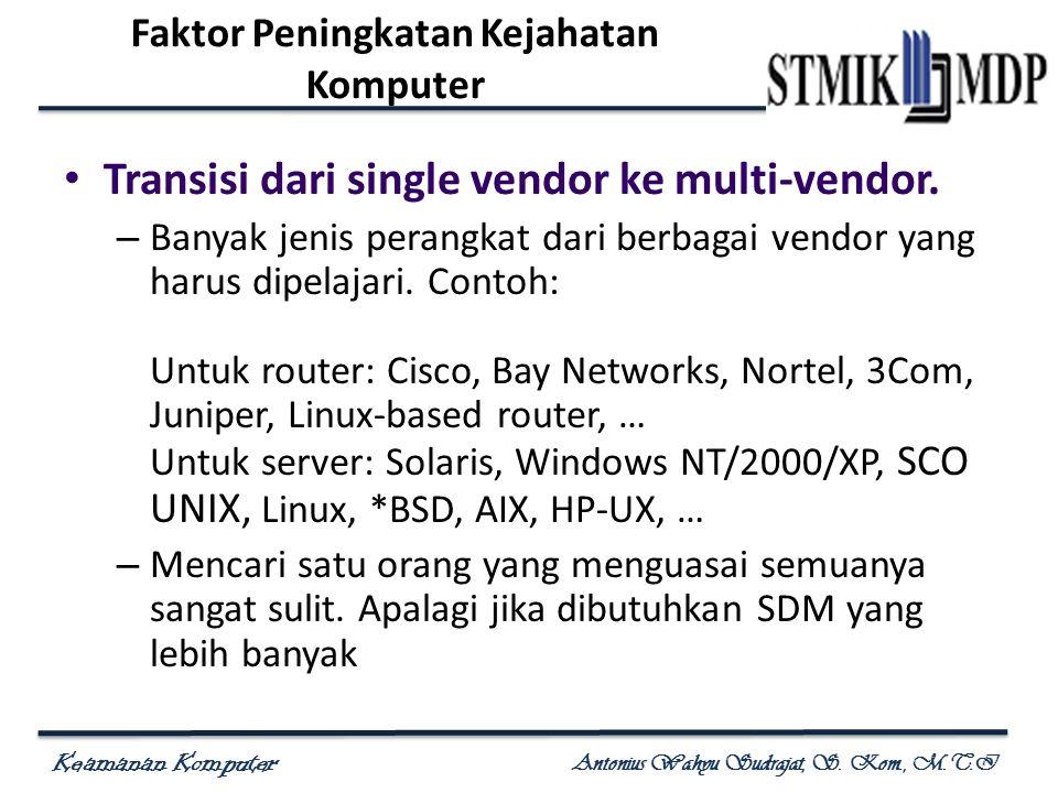 Keamanan Komputer Antonius Wahyu Sudrajat, S. Kom., M.T.I Transisi dari single vendor ke multi-vendor. – Banyak jenis perangkat dari berbagai vendor y