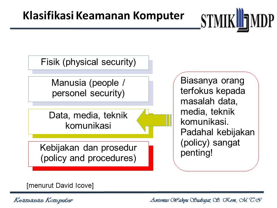 Keamanan Komputer Antonius Wahyu Sudrajat, S. Kom., M.T.I Klasifikasi Keamanan Komputer Fisik (physical security) Manusia (people / personel security)