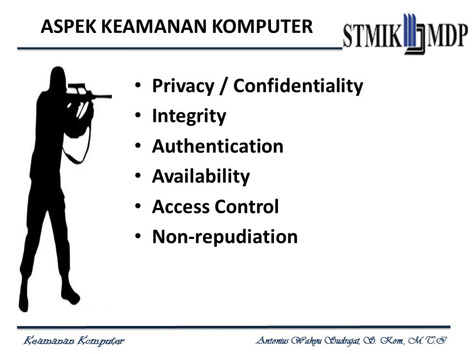 Keamanan Komputer Antonius Wahyu Sudrajat, S. Kom., M.T.I ASPEK KEAMANAN KOMPUTER Privacy / Confidentiality Integrity Authentication Availability Acce