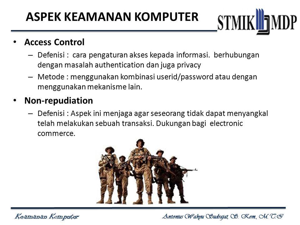 Keamanan Komputer Antonius Wahyu Sudrajat, S. Kom., M.T.I ASPEK KEAMANAN KOMPUTER Access Control – Defenisi : cara pengaturan akses kepada informasi.