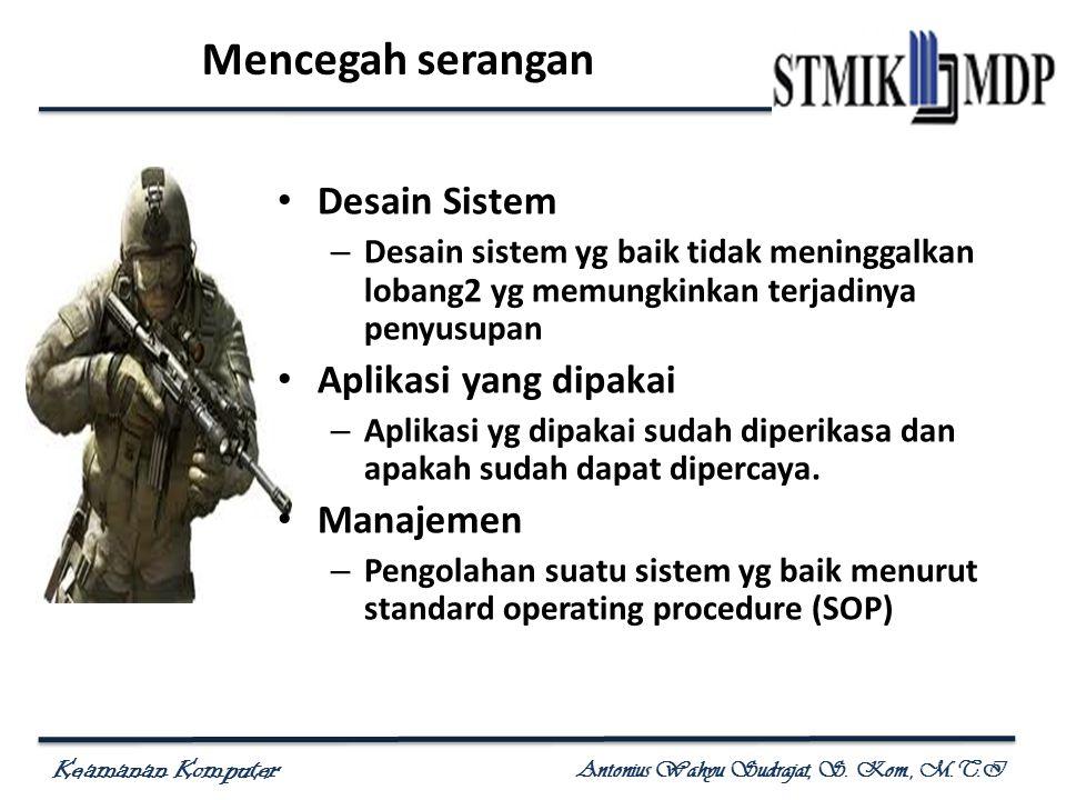 Keamanan Komputer Antonius Wahyu Sudrajat, S. Kom., M.T.I Mencegah serangan Desain Sistem – Desain sistem yg baik tidak meninggalkan lobang2 yg memung